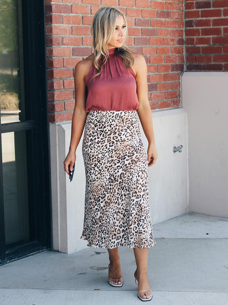 Run With It Leopard Midi Skirt