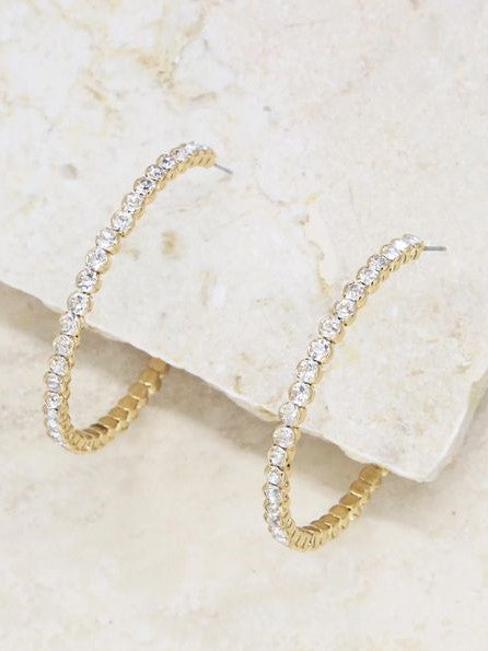 18k Diamond Sparkle Hoop Earrings