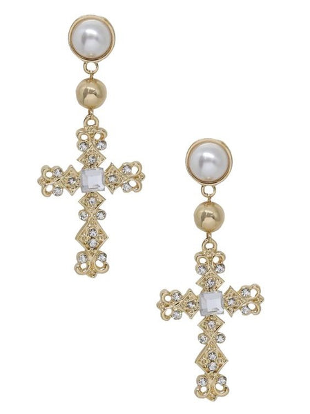 18K Ornate Cross Crystals Earrings Gold