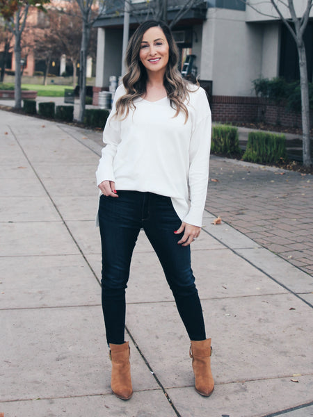 All The Things V-Neck Sweater- White