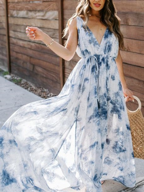Tie-Dye Slit Maxi Dress