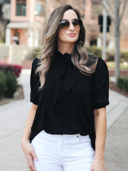 Lady Luck Sheer Tie-Neck Blouse