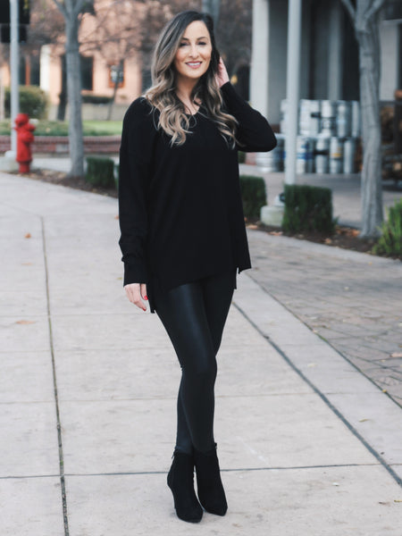 All The Things V-Neck Sweater- Black