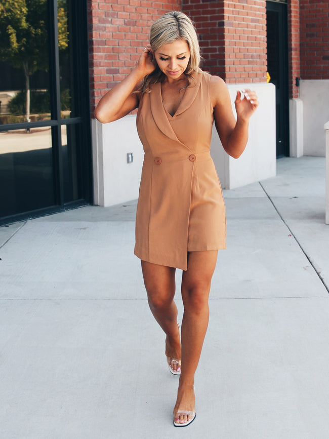 Camille Double Button Blazer Romper- Final Sale