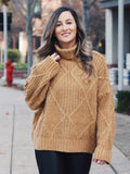 Lincoln Cowl Neck Cable Knit Sweater- 1 Left!