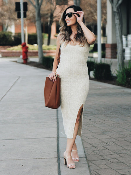 With Love Knit Ribbed Midi Dress- 1 Left! Size M