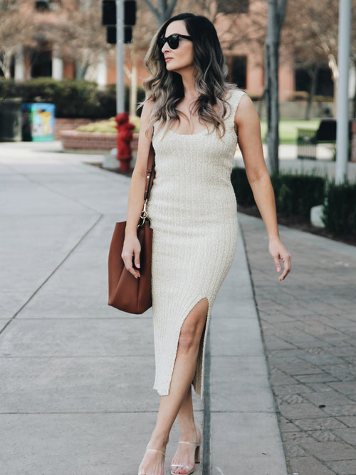 With Love Knit Ribbed Midi Dress