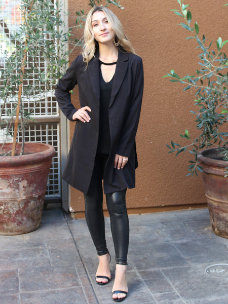 Need Me Classic Relaxed Trench- Black