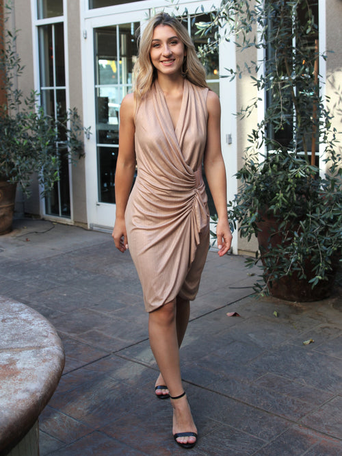 Better For It Draped Wrap Dress- Final Sale