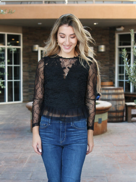 Temptress Long Sleeve Lace Crop Top