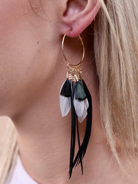 Feather Hoop Earrings- Black