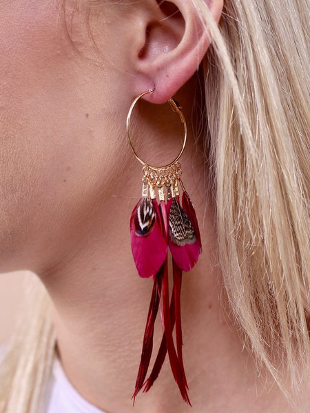 Feather Hoop Earrings- Burgundy