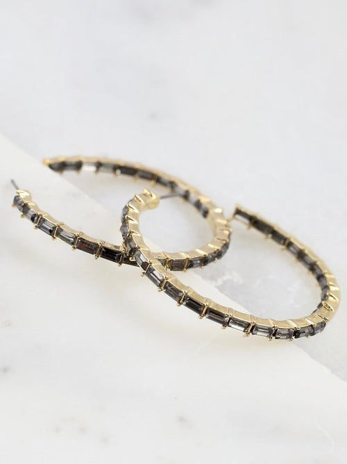 Hilston Baquette Stone Hoop Earrings