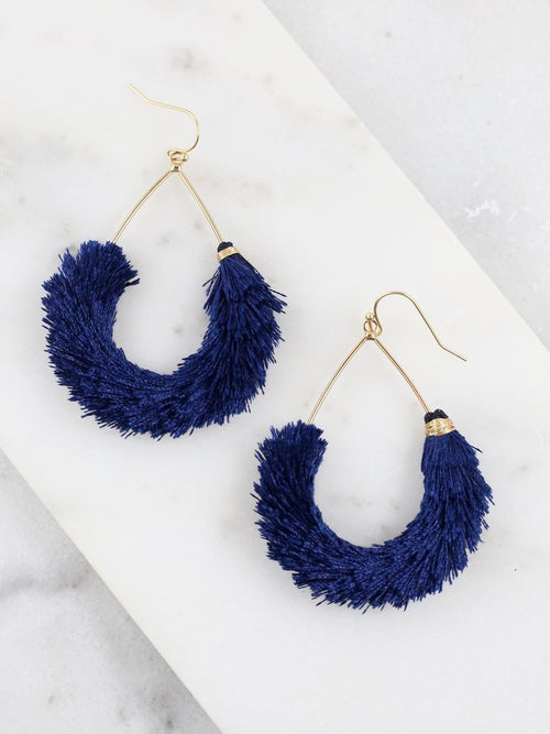 Ellton Fringe Teardrop Earrings- Navy
