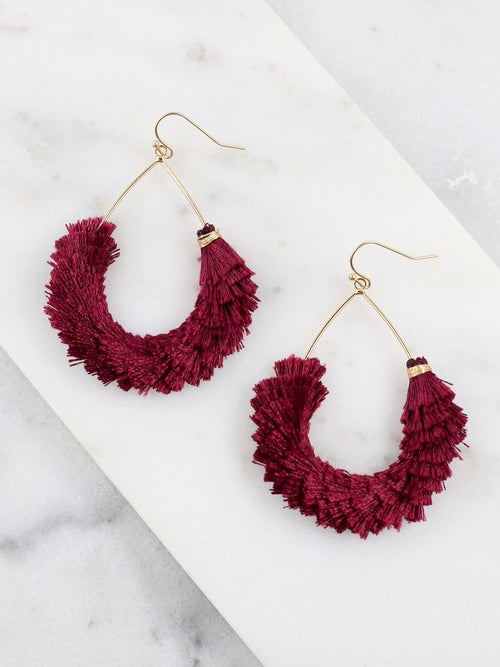Ellton Fringe Teardrop Earrings- Wine