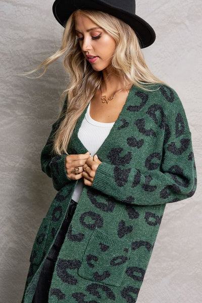 Sweet Fling Pocketed Leopard Cardigan- Green 1 Left!