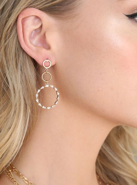 18K Dropping In Crystal Dangle Earrings