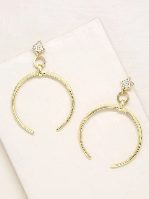 18K Gold Crescent Earrings - 1 Left!