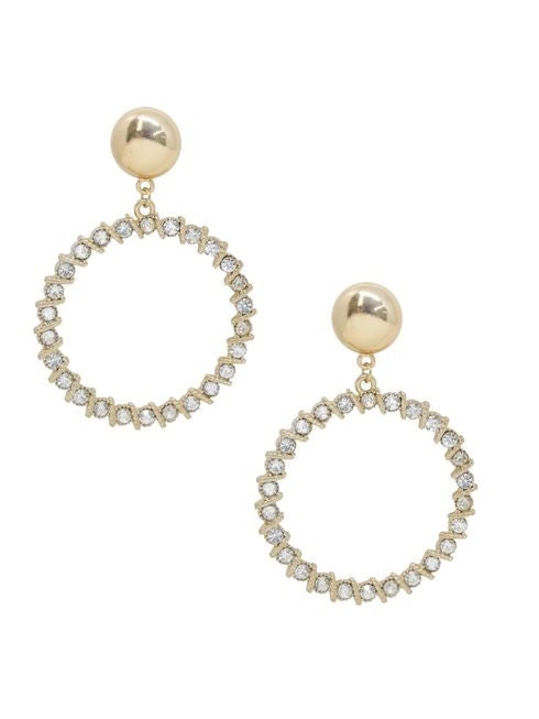 18K Crystal Hoop Drop Earrings