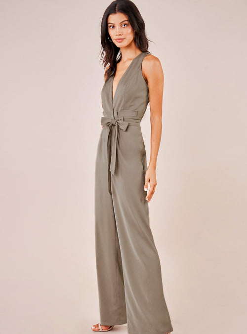 Close Enough Surplice Jumpsuit