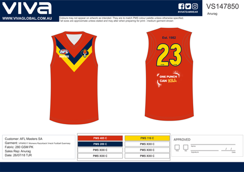 AFL Masters South Australia Custom Made Football Jersey