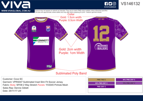 Cove Soccer Club - Purple Soccer Custom Made Jersey