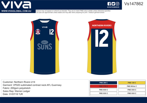 Northern Rivers Football Club Custom Made Football Jersey