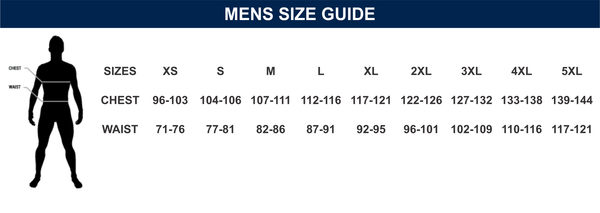 Mens Custom Made Uniforms Size Chart