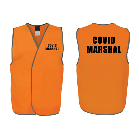 COVID-19 ORANGE MARSHAL HI VIS VESTS (QTY 1 - 10)