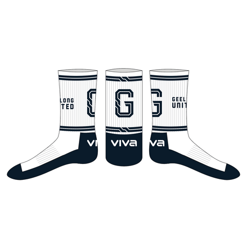 GEELONG UNITED BASKETBALL - WHITE CREW SOCKS