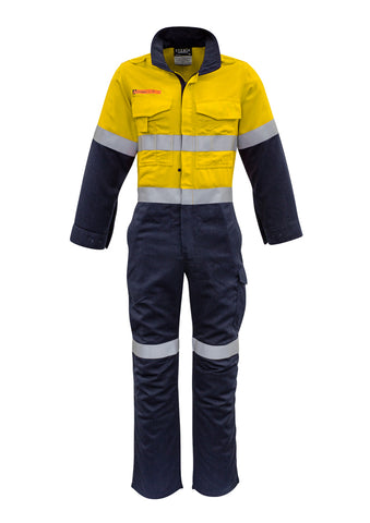 YELLOW/NAVY FLAME OVERALLS
