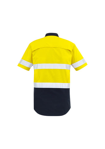 YELLOW/NAVY FLAME WORKWEAR SPLICED SHORT SLEEVE SHIRT