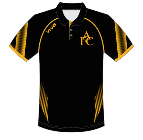 Aldinga FC - WOMEN , MEN & YOUTH Custom Made Club Polo Shirt - Black | Gold