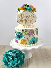 Sweet LuLu's Floral Tiered Cake with Turquoise Purple and Yellow Buttercream Flowers