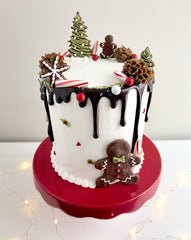 Sweet LuLu's Chocolate Christmas Cake with Buttercream and Chocolate Ganache Drip and Gingerbread Men Cookies and Candy Canes