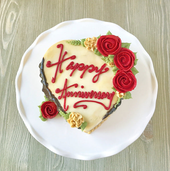 Happy Anniversary Heart Cake