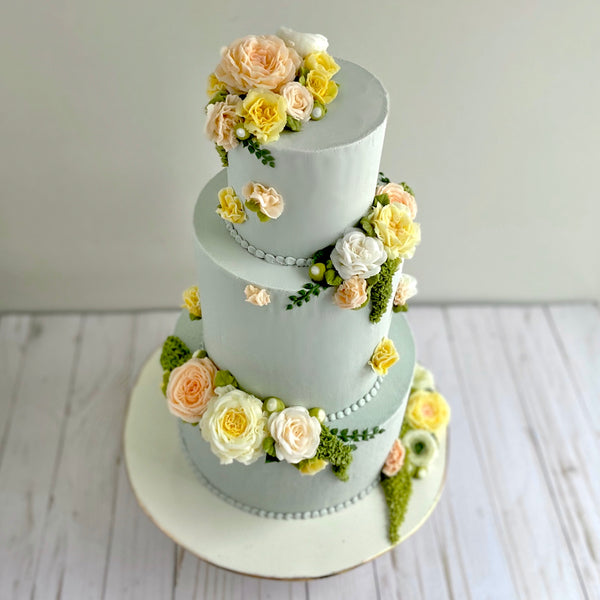 Pastel Floral Wedding Cakes and Cookies