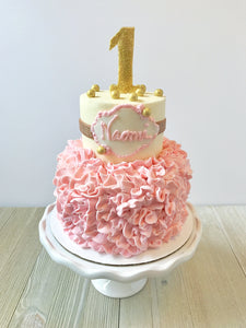 Pink and Gold Tiered Cake