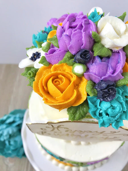 Painted Floral Tiered Cake
