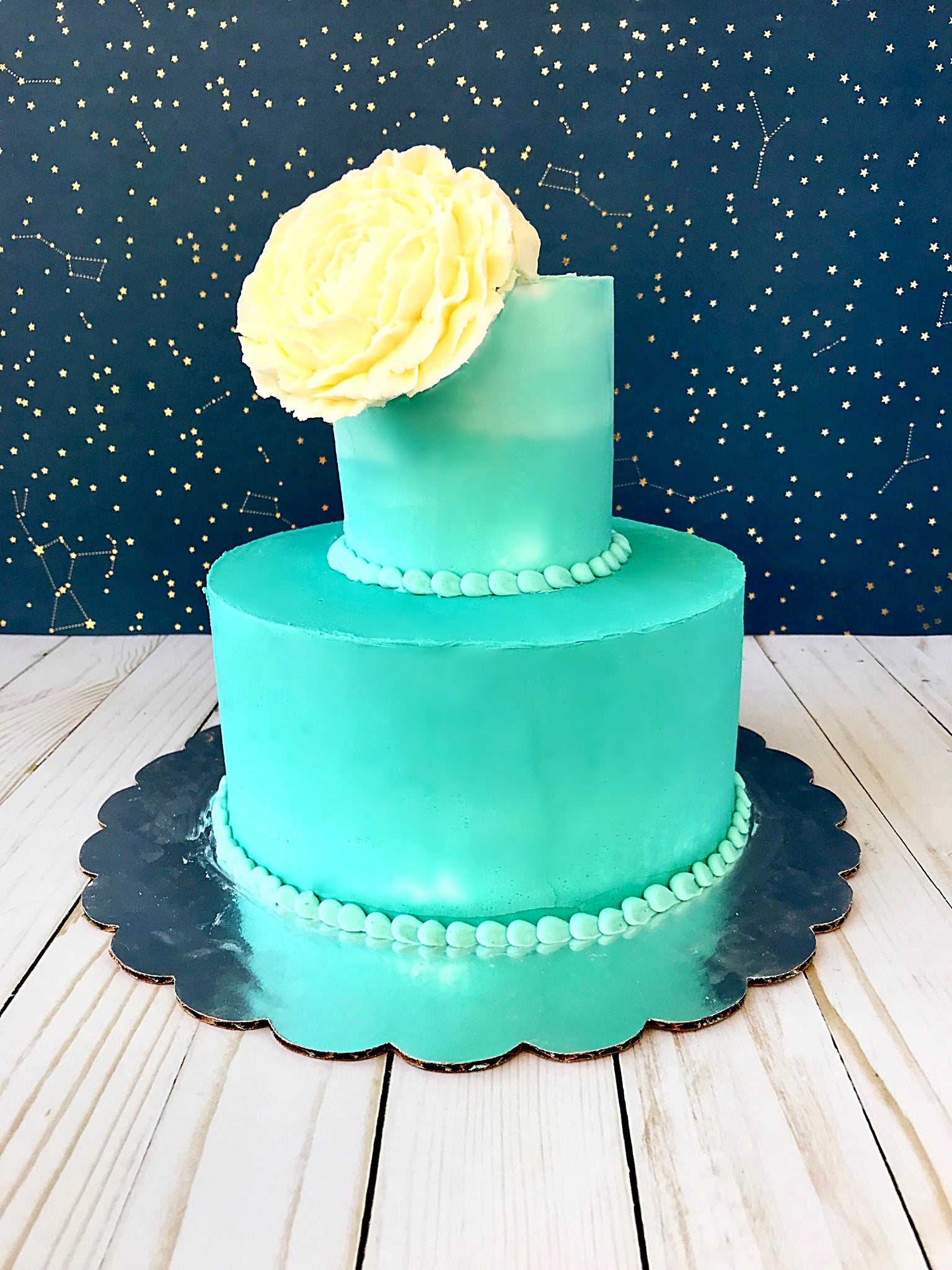 Turquoise Ombre Tiered Cake