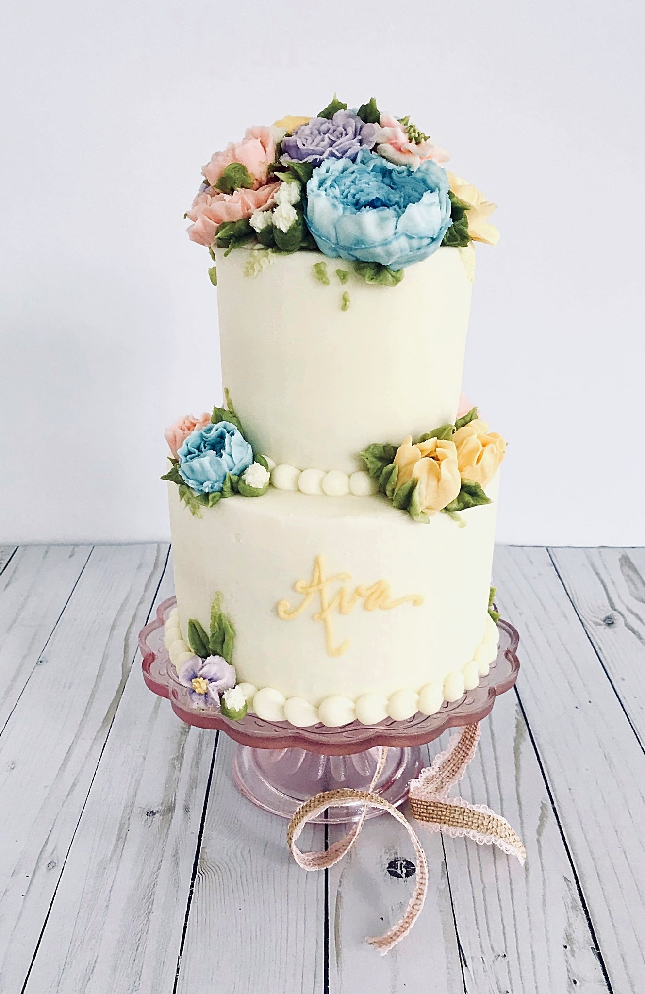 Spring Bouquet Tiered Cake