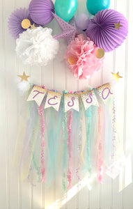 Rainbows & Stars Unicorn party Banner