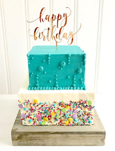 Sprinkle Happy Birthday Tiered Cake
