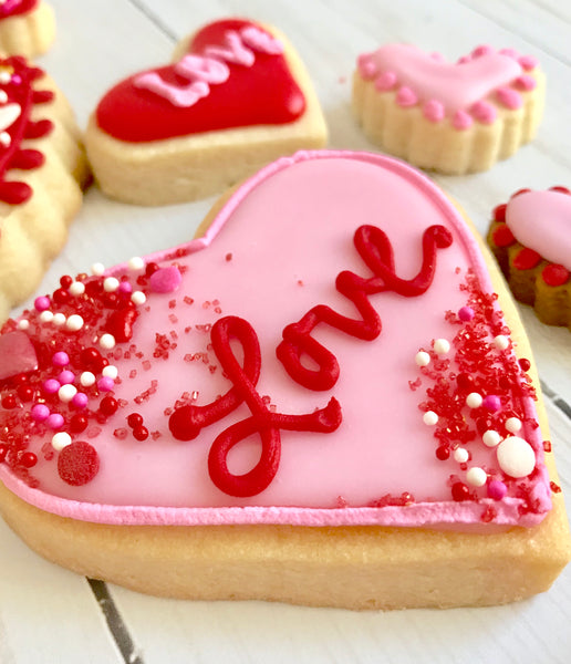 Sweet LuLu's pink heart with sprinkles Valentine's Day cookies