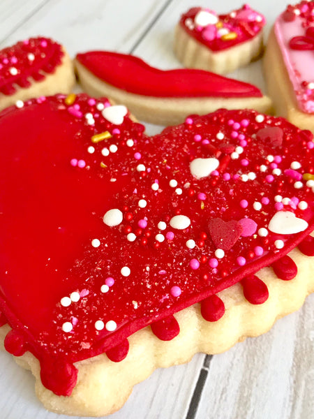 Sweet LuLu's Valentine's Day heart cookies in red with sprinkles.