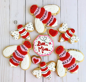 Sweet LuLu's Bee Mine Valentine Cookies in red, white and pink.