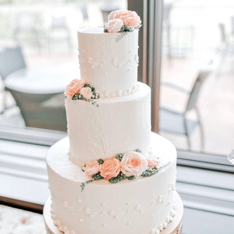 Peach Blush Wedding Cake