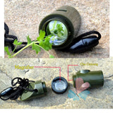 7 in 1 Outdoor Whistle Compass With Thermometer Flashlight And Magnifier