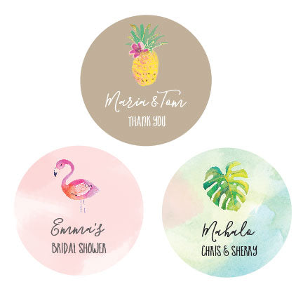 PERSONALIZED TROPICAL BEACH ROUND LABELS