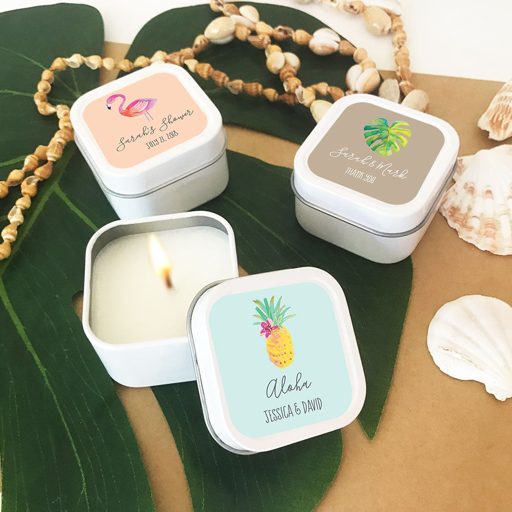 PERSONALIZED TROPICAL BEACH SQUARE CANDLE TINS (SET OF 24)